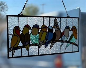 8 Bird Modern Stained Glass Panel10x25in