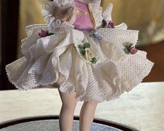 Antique German Muller Volkstedt figurine Dancer Dresden Porcelain Lace Figurine In Dome Display  #26x4.5x4inHxWxD