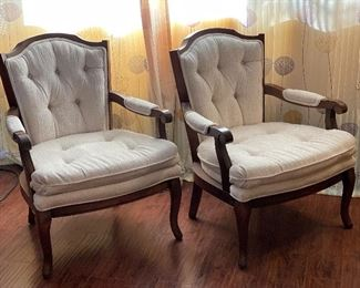 2pc Vintage Upholstered Accent Chairs PAIR37x27x34inHxWxD