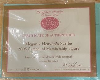 Seraphim Megan Heavens Scribe Angel Sculpture6x7x4.5inHxWxD