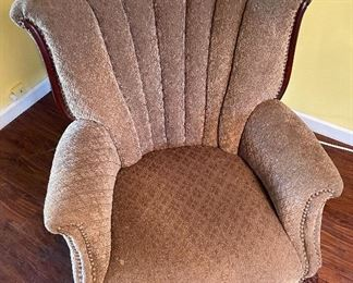 Vintage Upholstered Channel Back Chair36x29x29inHxWxD