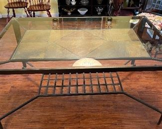 Iron/Glass/Slate Dining Table w/ 6 Chairs30x36x60inHxWxD