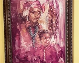 Don Ruffin Native American Grandmother and Granddaughter Print on Board28x22