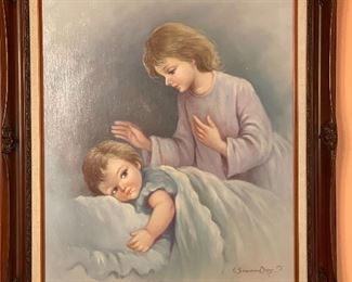 Susan Day Mother Baby  Bedtime Painting Art31x26x2.5inHxWxD