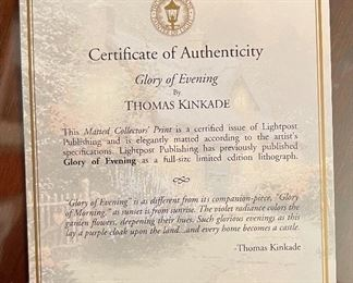 Thomas Kinkade Glory of Evening Framed Matted Print14.5x17.5in