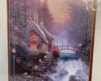 Thomas Kinkade Sweetheart Cottage Framed Matted Print16x12.5in