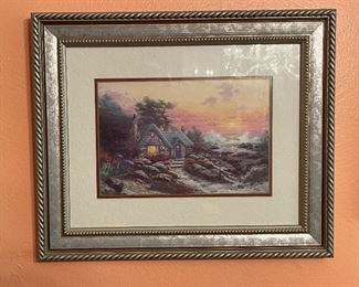 Thomas Kinkade Cottage by the Sea Framed Matted Print14x17.5in