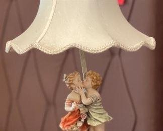 2pc Antique Porcelain Kissing Figural Lamps PAIR24in H x 12in Diameter