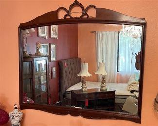 Vintage Walnut Frame Mirror37x41.5x1.5inHxWxD