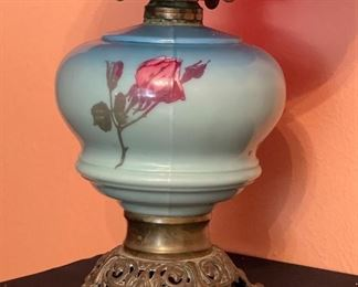 Ruby Red Quilt Shade Oil Lamp hand painted19in H x 11in Diameter