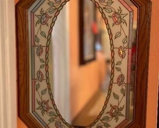 Oak Frame Country Faux Stained Glass Mirror32x21x.5inHxWxD