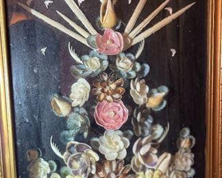 Seashell Art Flower Shadow box Art24x11.5x3inHxWxD