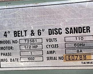 T2581 4in BELT & 6in Disc Sander