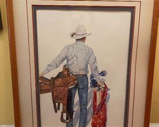 Cowboy Golfer Framed Print Karen Rae32x26