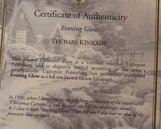 Thomas Kinkade Evening Glow Framed Matted Print14.5x17.5in