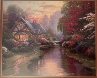 Thomas Kinkade  Cottage By The Stream Framed Matted Print14.5x17.5in