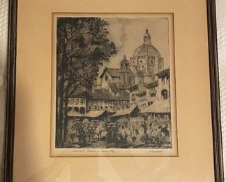 Etching Market Place in Pavia Italy J Cassadei14.5x12.5in