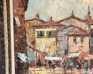 *ORIGINAL* Art Street Scene Painting30x54.5in