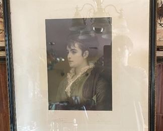 Moretta A Venetian Girl Etching After Fred Leighton uncoloured mezzotint by Samuel Cousins28x22in