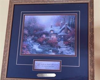 Thomas Kinkade Swanbrooke Cottage Psalm 2314.5x14.5inHxWxD