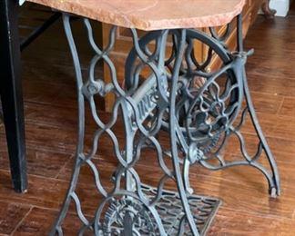 Singer Antique Cast Iron Treadle Base w/ Flagstone Top29x27x18inHxWxD