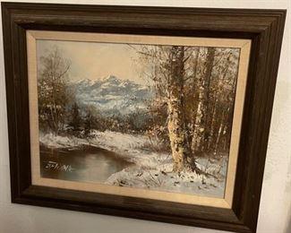 Original Art Snowy Mountain17x21in