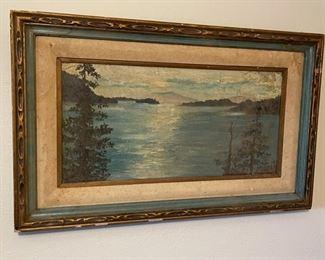 Antique Lake Painting Original