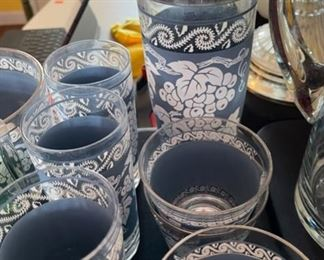 25+ Hazel Atlas Grapevine Barware Glass Set