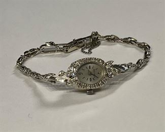 Bulova 14k White Gold & Diamond Watch14k