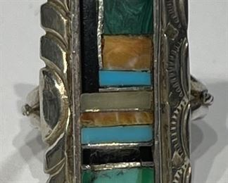 Vintage Zuni Ring Sterling Silver Turquoise Multi Stone Ring Signed AB Native American1