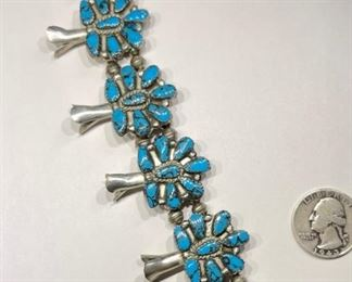 Vintage Native American Squash Blossom Necklace Turquoise Sterling Silver Signed1