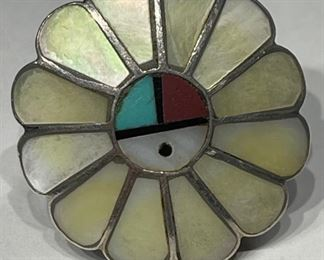 Vintage Zuni Sunface Ring Mother of Pearl Turquoise Sterling Silver1