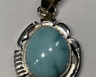 Vintage Navajo Sleeping Beauty Turquoise & Sterling Silver Pendant Signed Al Yazzie1
