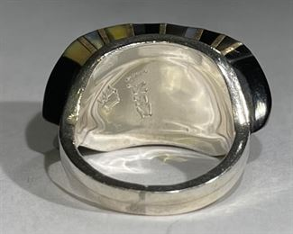 LEE EDAAKIE Zuni Multi Gemstone Mosaic Ring Vintage Signed1