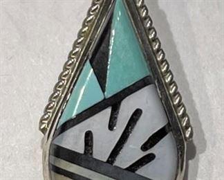 ZUNI ECK Multi Sterling Silver Gemstone Pendant Elecario & Cleo Kallestewa