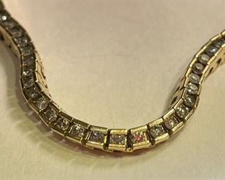14k Gold & Diamond Tennis Bracelet SZ 7.514k
