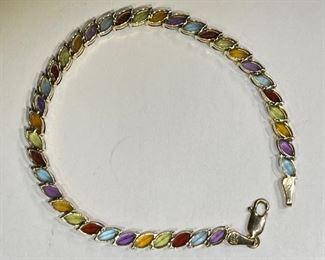 14k Gold Marquise Multi-Gemstone Bracelet SZ 714k