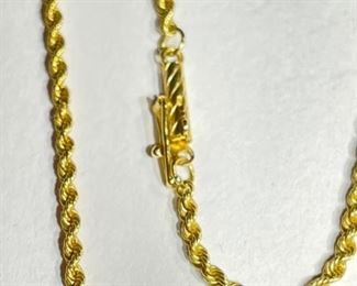 24in 18k Gold 2mm Rope Necklace18k