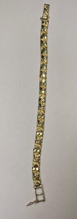 14k Gold Nugget Bracelet 6.5in Ladies14k