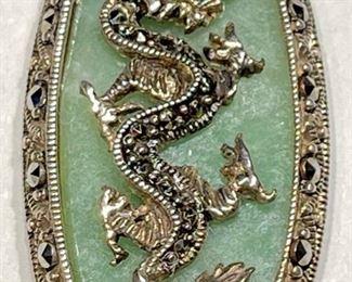 Sterling Silver Thailand Dragon Jade Pendant1