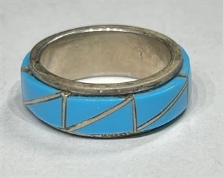 Zuni Sterling Silver & Turquoise Inlay Ring1
