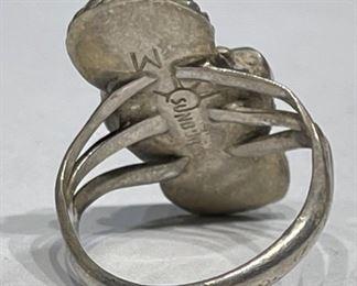 Zuni Sterling Silver Muti Gemstone Ring Signed Sunburst M1