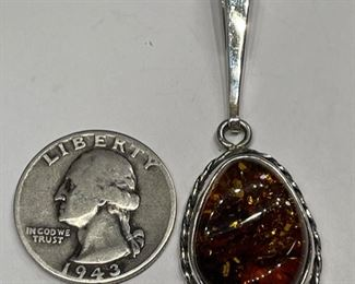 Sterling Silver & Amber Pendant Signed1