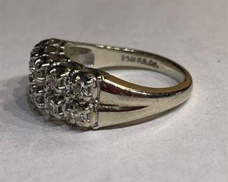 14k White Gold & Diamond  Fritz Rossier Vintage Art Deco Ring SZ 5.514k
