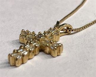 14k Gold & Diamond Cross Pendant w/ Necklace14k