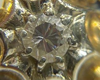 18k White/Yellow Gold Diamond Ring Italy SZ 6.518k