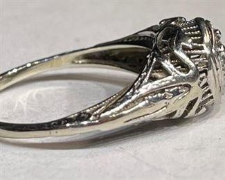Antique Art Deco Platinum Diamond Wedding Set Engagement Ring Wedding BandPT