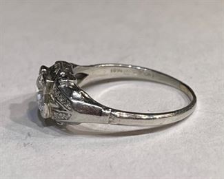 Antique Art Deco Platinum Diamond Engagement Ring SZ 5.5PT
