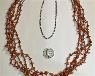 Native American 5-Strand Red Coral & Shell Necklace 27in