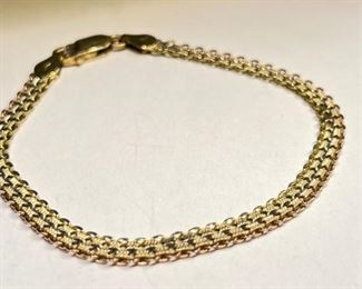 18k Gold Yellow/White/Rose Tri-Color Bracelet SZ 7.518k